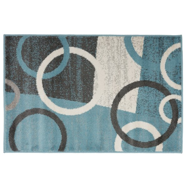Ibarra Contemporary Circles Shapes Blue Area Rug by Ebern Designs