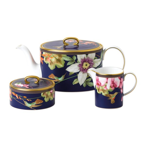 Hummingbird 3 Piece Porcelain China Tea Set by Wedgwood