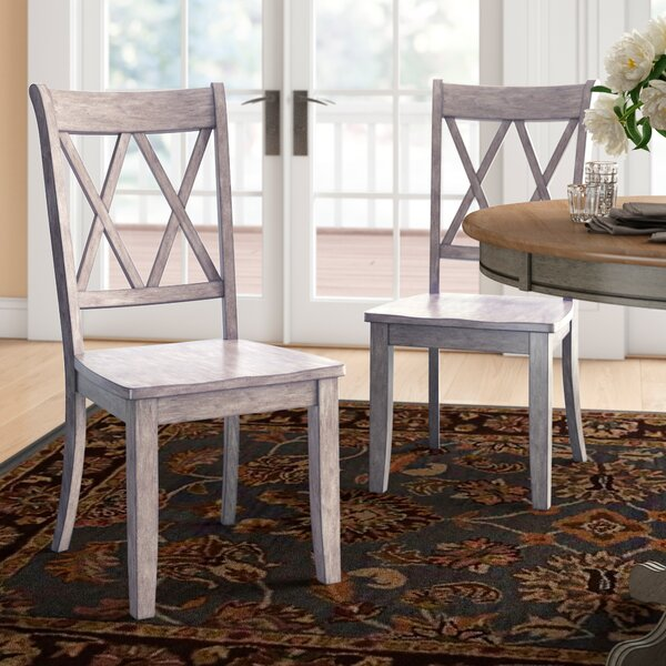 Florissant Solid Wood Cross Back Side Chair (Set Of 2) By Three Posts