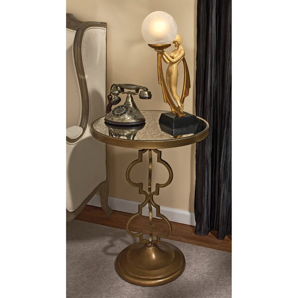 Film Noir Art Deco Mirrored End Table by Design Toscano
