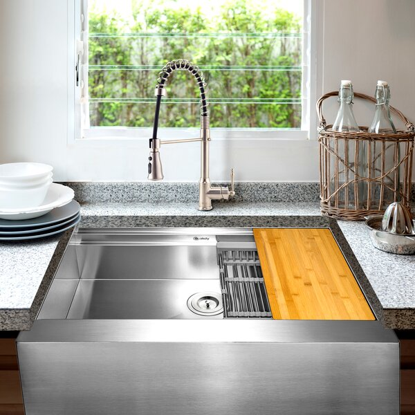 Workstation 30 L x 20 W Farmhouse Kitchen Sink with Faucet and Basket Strainer