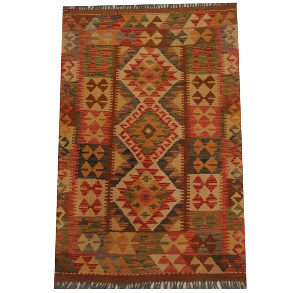 Kilim Tribal Hand-Woven Wool Red / Brown Area Rug by Herat Oriental
