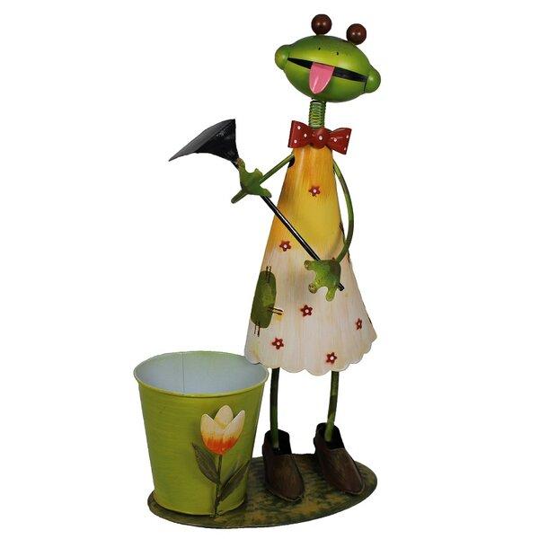 Eustis Frog Flower Metal Pot Planter by August Grove