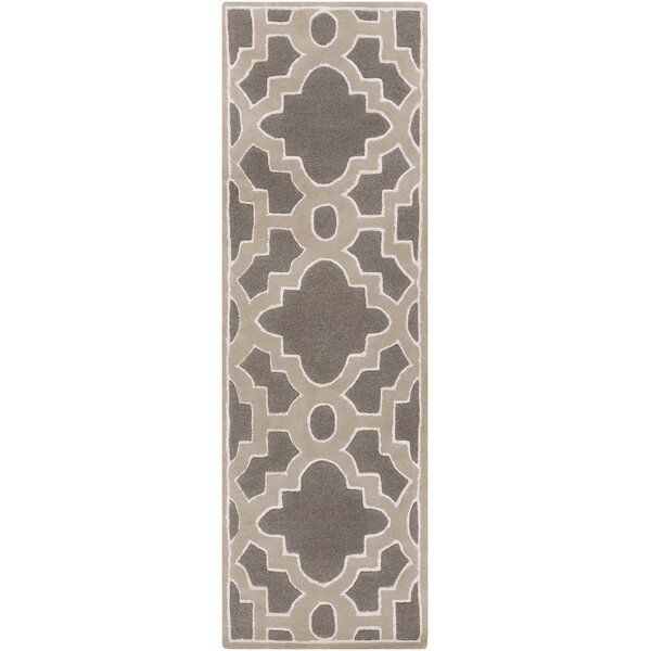 Camarillo Hand-Tufted Wool Charcoal/Light Brown Area Rug