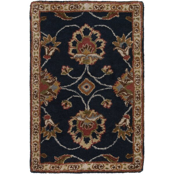 Keefer Dark Olive Green Floral Area Rug by Charlton Home