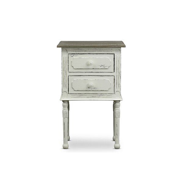 Chiverton Traditional French 2 Drawer Nightstand by Ophelia & Co.
