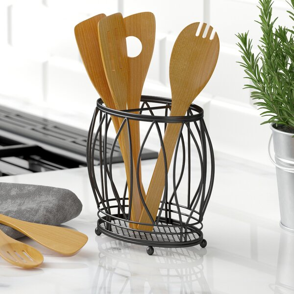 Stainless Steel Utensil Holder by Three Posts