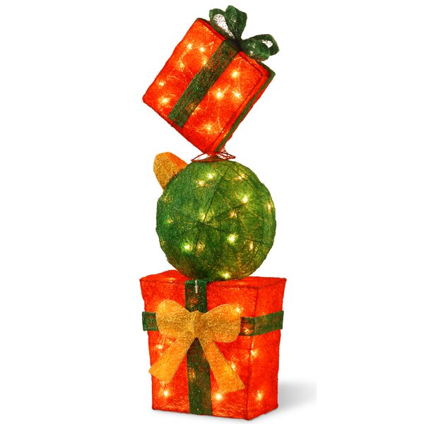Decorative Décor Pre-Lit Gift Box Tower Christmas Decoration by The Holiday Aisle