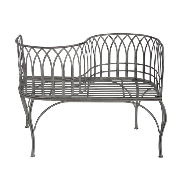 Gines Curved Steel Tete-a-Tete Bench by August Grove