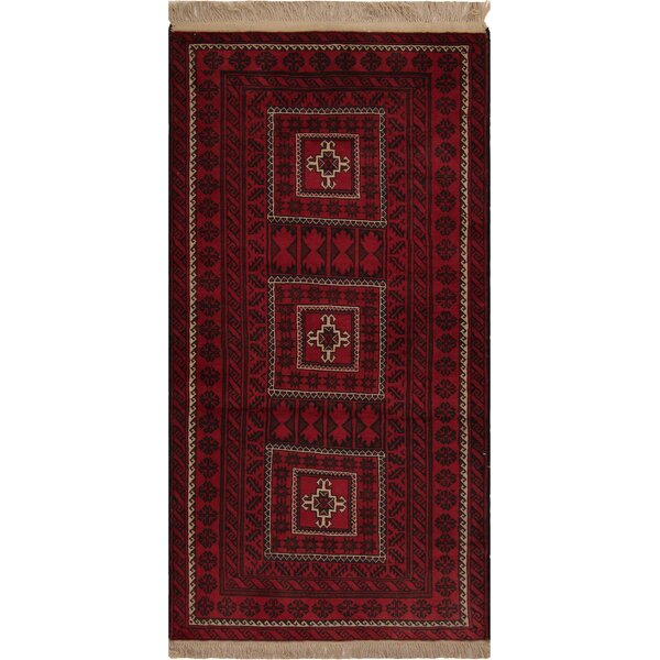 One-of-a-Kind Varney Hand-Knotted Wool Red/Black Area Rug by Bloomsbury Market