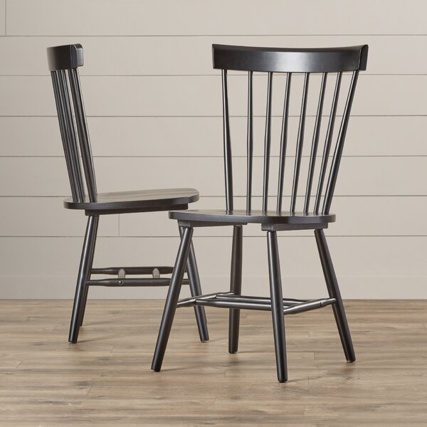 Brixton Slat Back Side Chair In Black (Set Of 2) By Highland Dunes