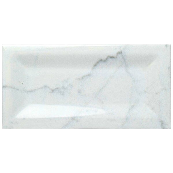Karra Carrara 3 x 6 Ceramic Subway Tile in Glossy Inmetro White/Gray by EliteTile