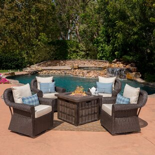 Ariella  5 Piece Rattan Conversation Set with Cushions By Gracie Oaks