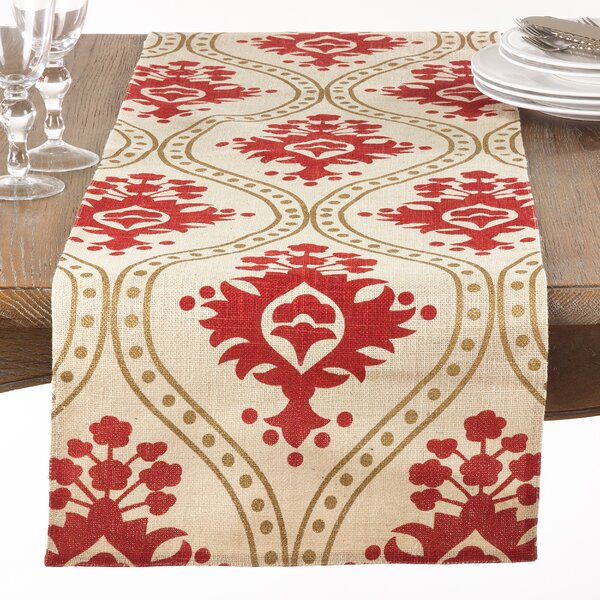 Bensonhurst Jute Damask Pattern Table Runner by Three Posts