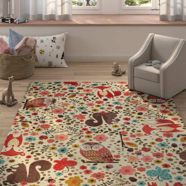 Johansson Enchanted Forest Cream/Red Area Rug by H