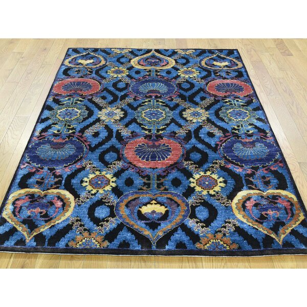 One-of-a-Kind Bourque Arts Crafts Design Handwoven Blue Wool/Silk Area Rug by Isabelline