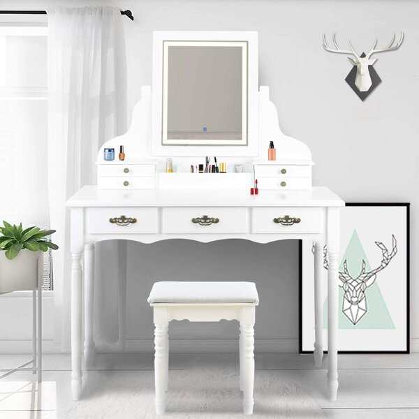 Oxon Hill Vanity Set with Stool and Mirror by Canora Grey Canora Grey