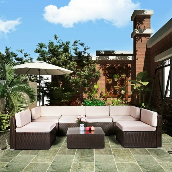 Emilienne 7 Rattan Seasonal Seating Group with Cushions by Ebern Designs