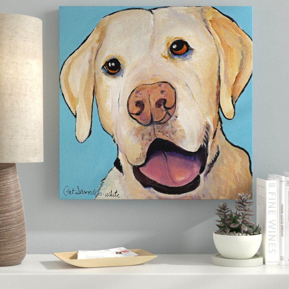 CUTE LABRADOR PUPPY DOGS PAINTING STYLE BOX CANVAS PRINT WALL ART PICTURE