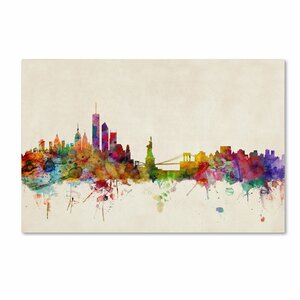 New York, New York by Michael Tompsett Graphic Art on Wrapped Canvas by Trademark Fine Art