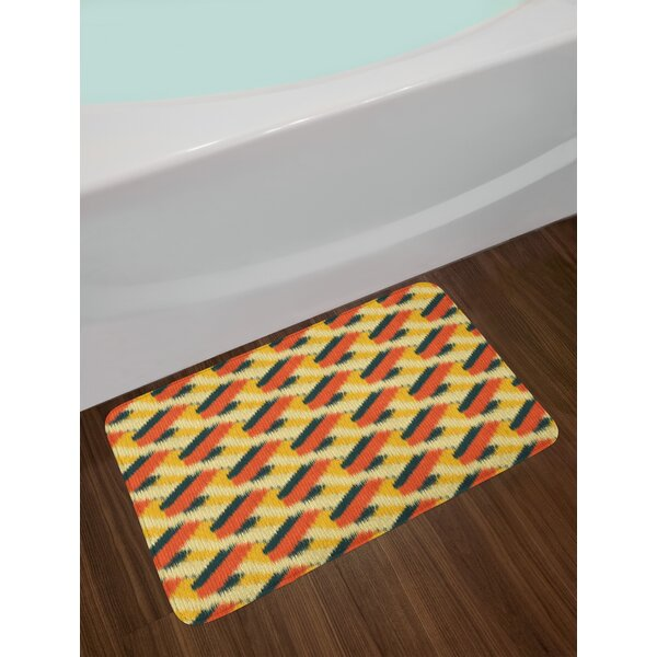 Ethnic Composition Ikat Bath Rug by East Urban Home
