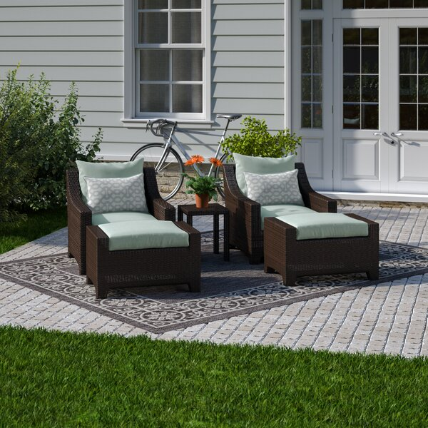 Northridge 5 Piece Rattan Multiple Chairs Seating Group with Sunbrella Cushions by Three Posts