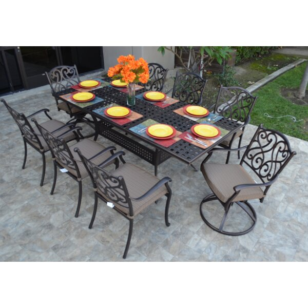 Lawerence 9 Piece Dining Set with Cushions by Fleur De Lis Living