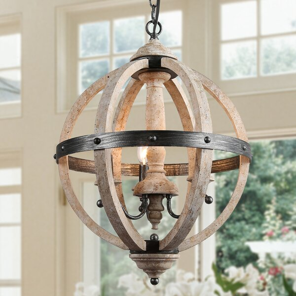 Toney 3-Light Lantern Globe Pendant by Rosalind Wheeler Rosalind Wheeler