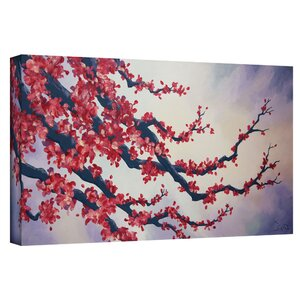 'Red Cherry Blossom' by Shiela Gosselin Framed Painting Print on Wrapped Canvas by World Menagerie