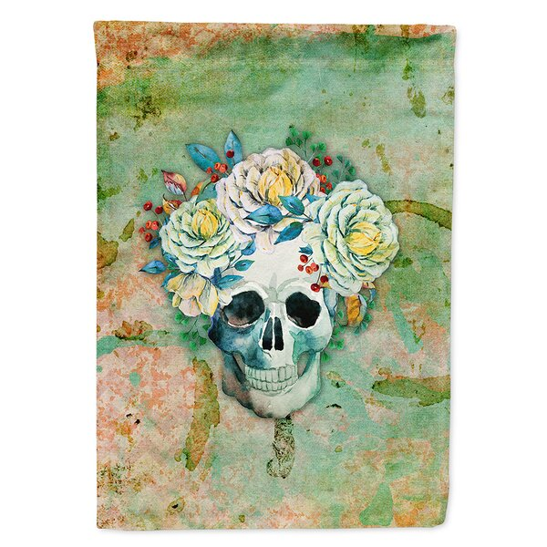 Day of the Dead Skull with Flowers 2-Sided Polyester 15 x 11 in. Garden Flag by Caroline's Treasures