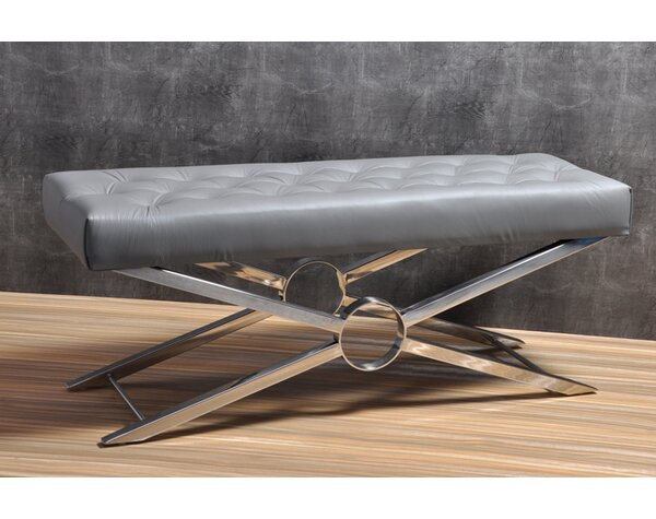 Magna Leather Bench by Orren Ellis