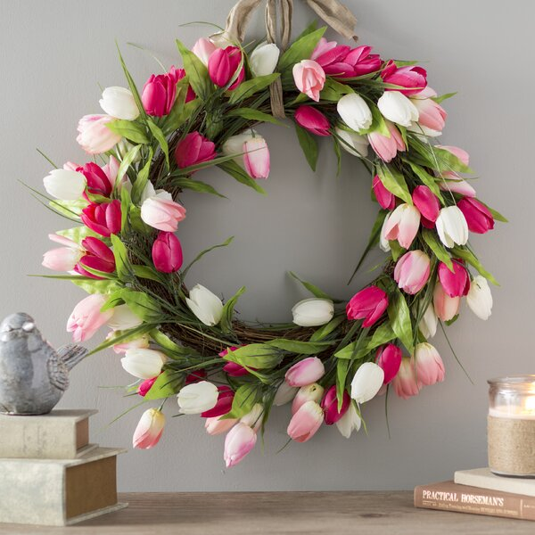 Luxurious Tulip Blossom Polysilk Wreath by Ophelia