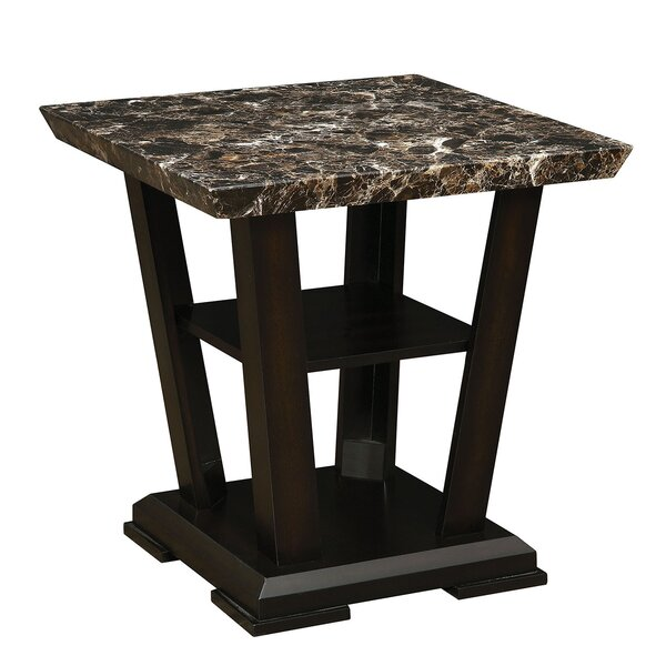 Flovilla Wooden Faux Marble Top End Table by Ebern Designs