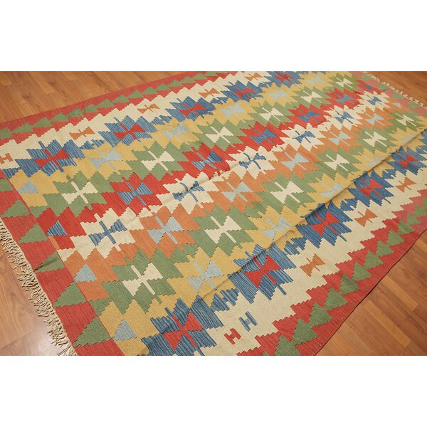 One-of-a-Kind Black Cloister Kilim Hand-Woven Green/Red/Ivory Area Rug by Foundry Select