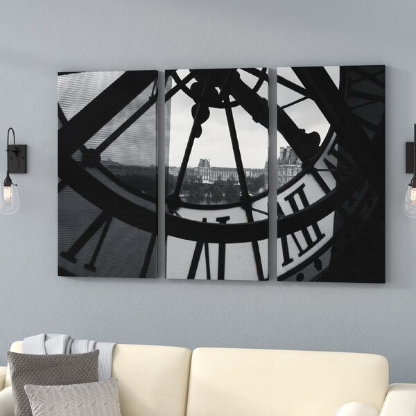 Clock Tower In Paris 3 Piece Photographic Print on Canvas Set by Trent Austin Design