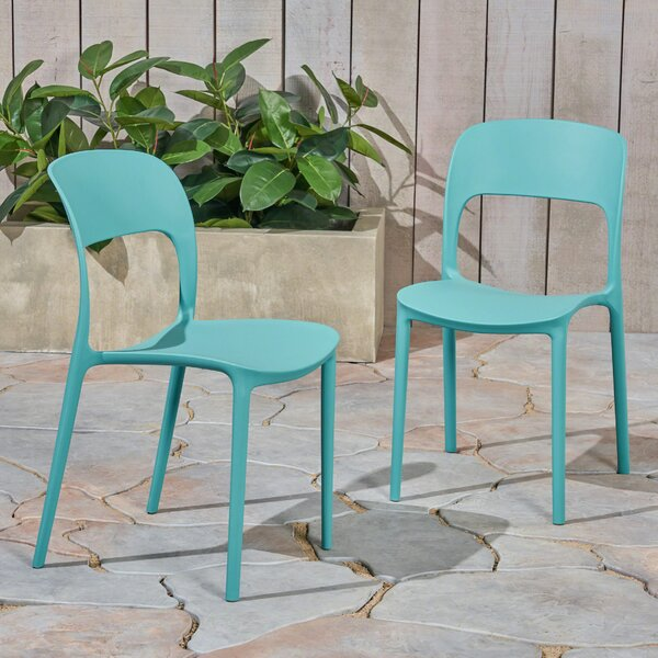 Dibenedetto Stacking Patio Dining Chair (Set Of 2) By Ebern Designs