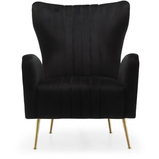 Spady Velvet Wingback Chair Everly Quinn