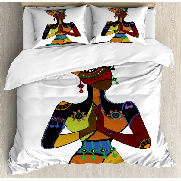 Woman Figure in Ethnic Style Costume Praying Culture Religion Enlightenment Grace Duvet Set by East Urban Home