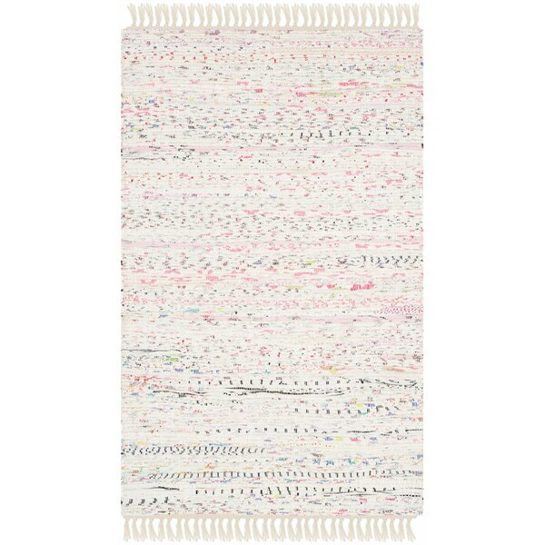 Penrock Way Flatweave Cotton White/Multi Area Rug by Beachcrest Home
