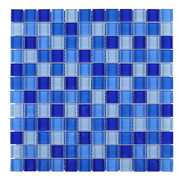 Mix Grid Glass Mosaic Tile in Blue by Multile