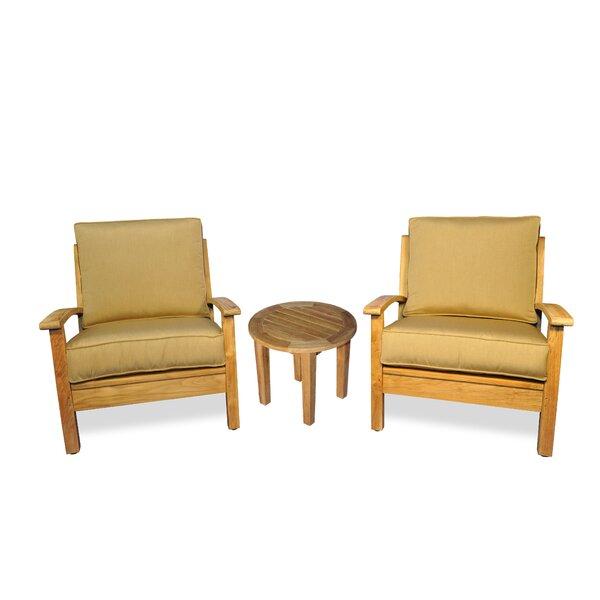 Teak 3 Piece Sunbrella Conversation Set with Cushions by Regal Teak
