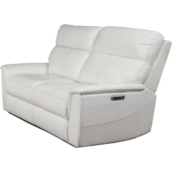 Review Wales Leather Match Reclining Loveseat