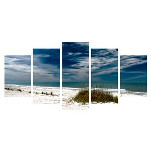 'Silent Beach' 5 Piece Photographic Print on Wrapped Canvas Set by Ebern Designs