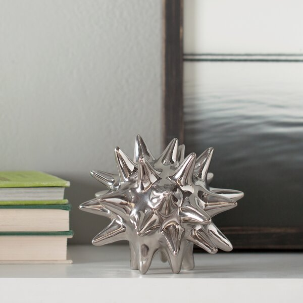 Urchin Shiny Silver Object By Dwellstudio.