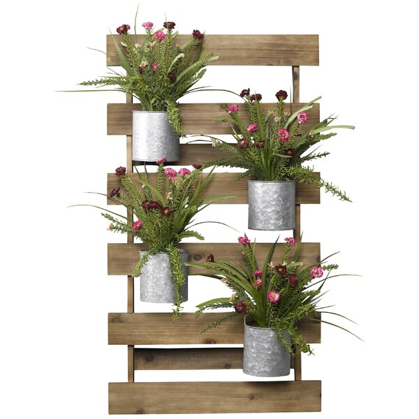 Wooden Slat Wall with Wildfower Floral Arrangement in Tin Cans by Gracie Oaks