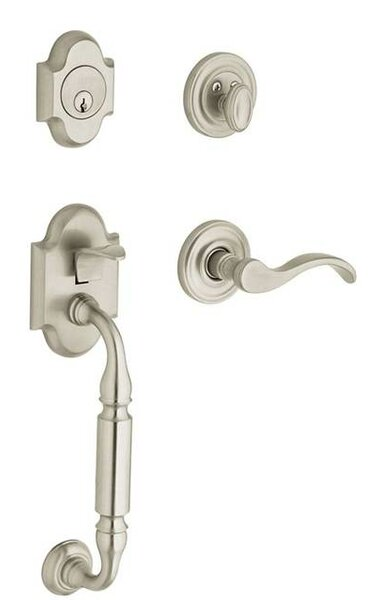 Canterbury Full Dummy Handleset with Interior Lever and Sectional Trim by Baldwin