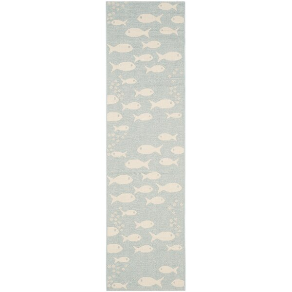 Lake Park Aqua/Beige Indoor/Outdoor Area Rug by Beachcrest Home