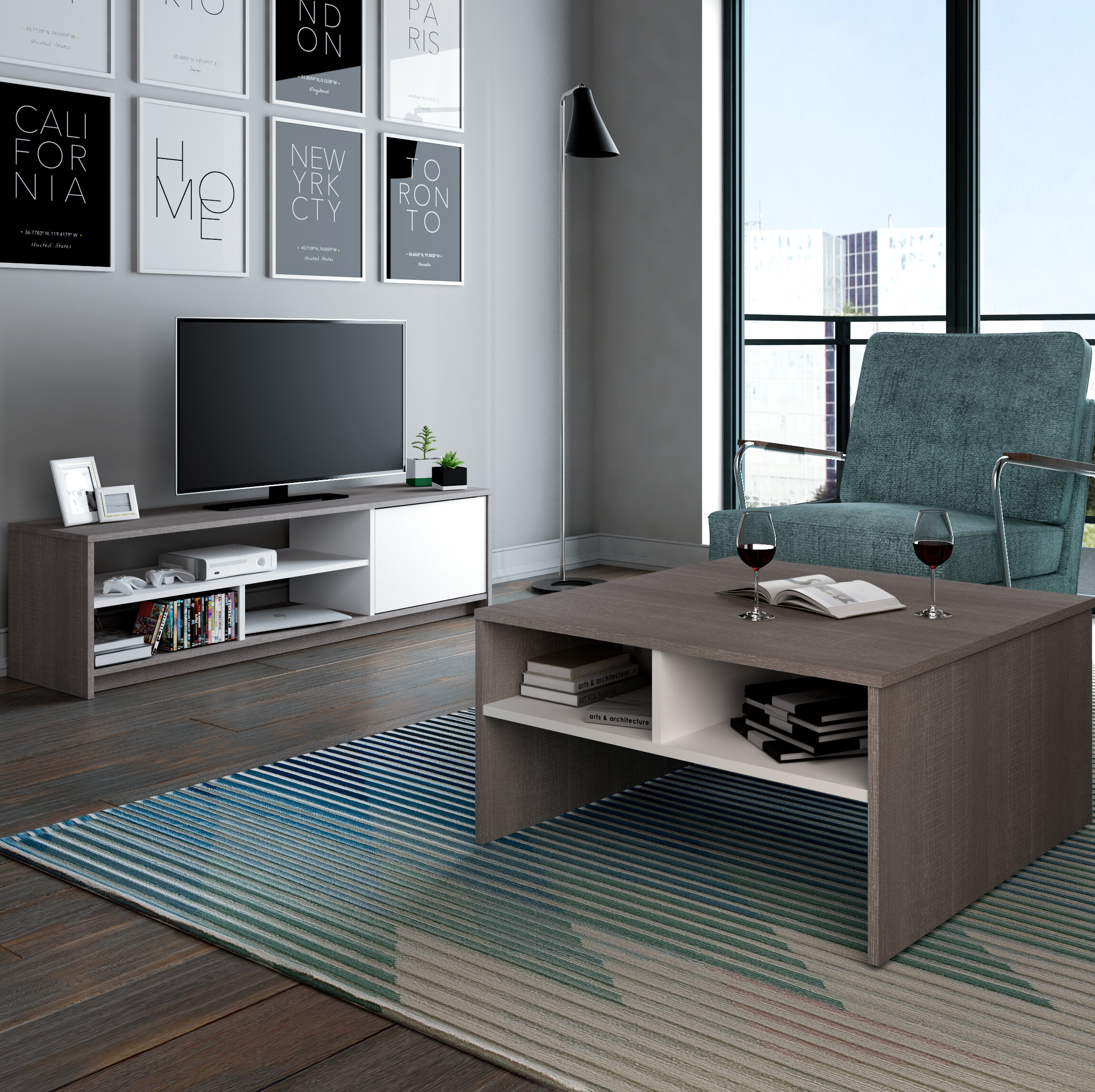 Zipcode Design Chapell 2 Piece Storage Coffee Table and TV Stand