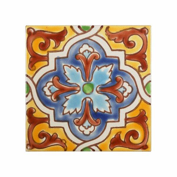 Mediterranean 4 x 4 Ceramic Monaco Decorative Tile in Red/Yellow/Blue by Casablanca Market