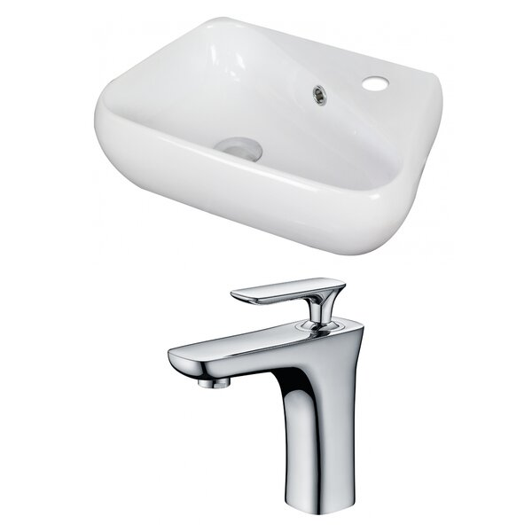Unique Ceramic 18 Wall Mount Bathroom Sink with Faucet and Overflow by American Imaginations